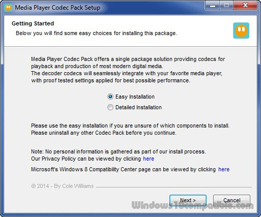 windows media player update codec